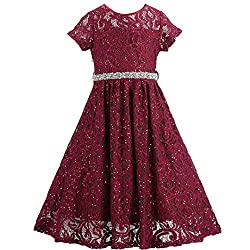 Wine Red Lace Flower Girl Sequins Short Dress