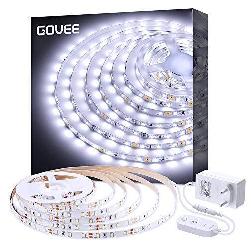 LED Strip Dimmbar, Govee 5m LED Streifen Kit mit 12V Netzteil, 6500K 300 LEDs Lichtband Kaltweiß, 2835 SMD Led Band Leiste Innenbeleuchtung für Spiegel Deko Party Küche Weihnachten