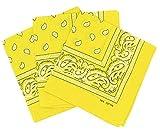PURECITY Bandana Original Paisley Motif Cachemire Pur Coton Foulard Qualité Supérieure Vendu par Lot - 55cm x 55 cm - Nouvelle Collection (30# Jaune)