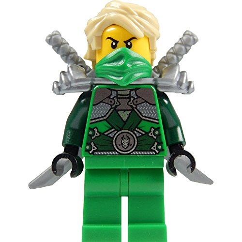 LEGO Ninjago: Minifigur Lloyd Garmadon (grüner Ninja) mit Schulterrüstung und zwei Katanas (Schwerter)