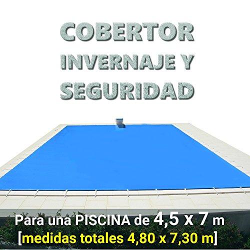 Cobertor, lona, cubierta, toldo,... de invierno para cubrir una piscina de 4,5 x 7 m. Medidas totales del cobertor: 4,80 x 7,30 m.