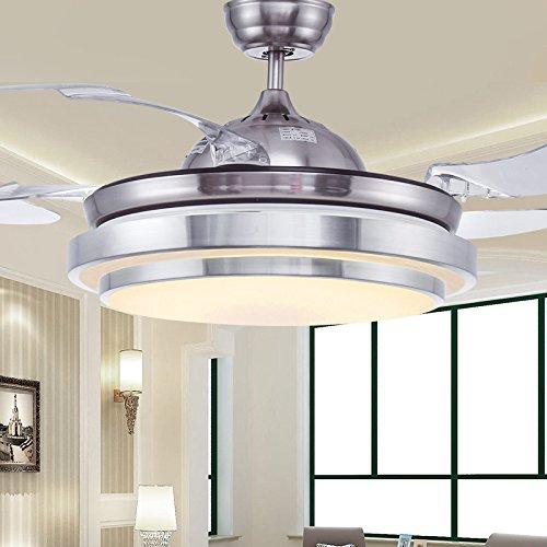 Ventilateur de plafond lumineux Ventilateur Chambre Salon Restaurant minimaliste Stealth télescopique lustre ventilateur LED