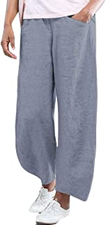 TOPUNDER Womens Fashion Cotton High Waist Solid Color Trousers Loose Pocket Pants