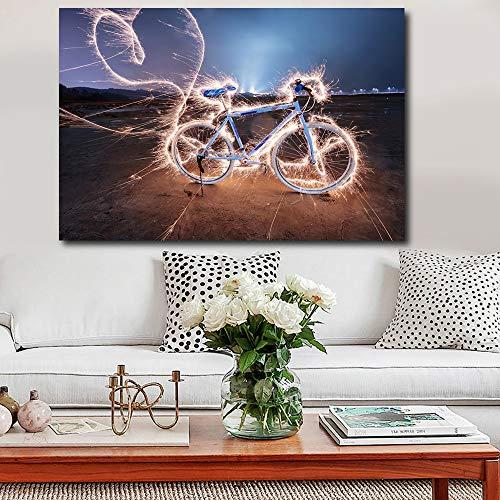 baodanla Geen frame Grote HD muurschildering, gebruikt voor woonkamer verlichting fiets print canvas foto home poster