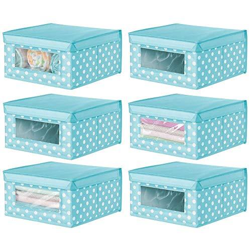 mDesign Juego de 6 Cajas organizadoras de Tela – Caja de almacenaje apilable para ordenar armarios, Ropa o Accesorios de bebé – Organizador de armarios con Tapa y ventanilla – Turquesa y Blanco