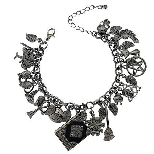 RechicGu - Pulsera de cuentos de hadas de la suerte con forma de cruz y hoja lunar con gato celta
