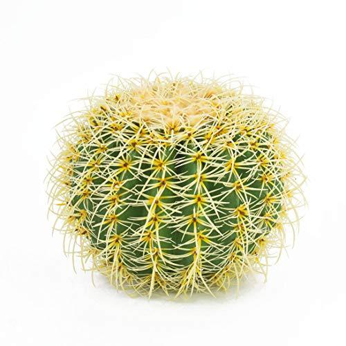 artplants.de Cactus Asiento de Suegra Artificial, Verde-Amarillo, 30cm - Planta Artificial - Redondo