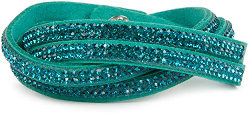 styleBREAKER weiches Strass Armband, eleganter Armschmuck mit Strassteinen, Wickelarmband, 2x2-Reihig, Damen 05040004, Farbe:Petrol/Türkis
