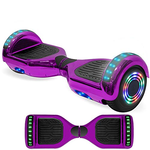 NHT Newest Edition Electric Hoverboard Self Balancing Scooter with Built-in Bluetooth Speaker LED Lights - Safety Certified (Chrome Purple)