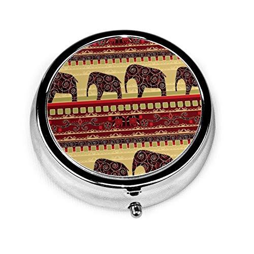 Caja de medicina redonda portátil, mini pastillero de metal, dispensador de pastillas, bolso de mano, regalo de viaje, impresión africana con elefantes