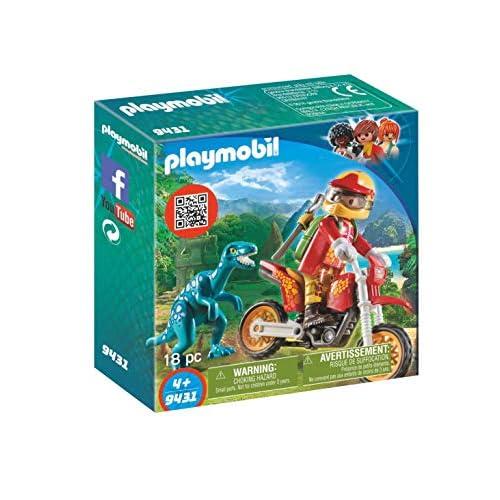 Playmobil Dinos 9431 - Playmobil 9431 - Moto Da Cross E Raptor, dai 4 anni
