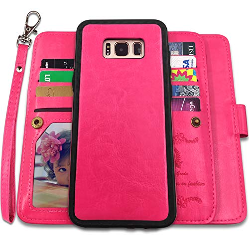Galaxy S8 Cases,Magnetic Detachable Lanyard Wallet Case with [8 Card Slots+1 Photo Window][Kickstand] for Galaxy S8-5.8 inch, CASEOWL 2 in 1 Premium Leather Removable TPU Case(Hot Pink)