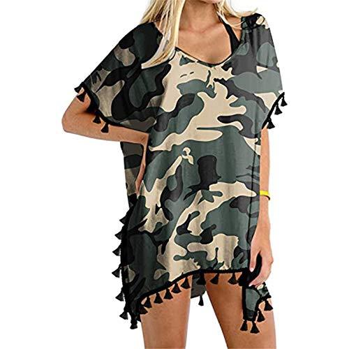 K-Youths Womens Summer Half Sleeve Chiffon Cardigan Boho Retro Geométrico Floral Impreso con Flecos Borlas Patchwork Bikini