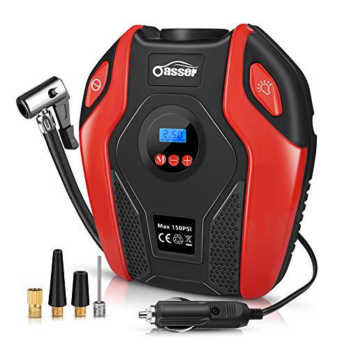 Oasser Tyre Inflator Air Compressor Car Tyre Pump Portable Electric with Digital LCD LED Light 12V DC 150 PSI for Car Bicycle Tyres Balls Swimming Rings Toys P6 large image