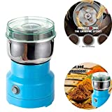 ZW Multifunzione Smash Machine, 4 Bi-Level Lame Macchina per la frantumazione, Trasparente Corpo Acrilico Coffee Grinder in Acciaio Erbe elettrici spezie Noci Grani Blu