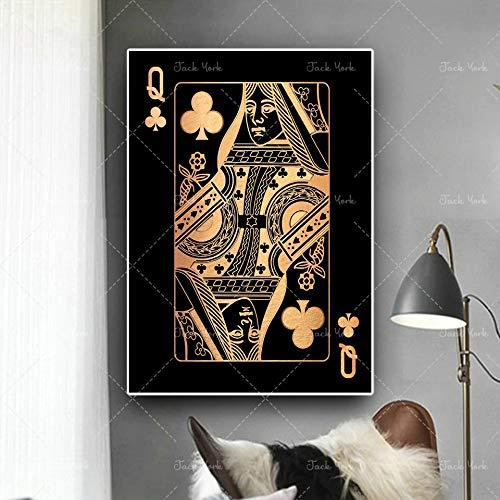 JFHSJ Póster Resumen de Oro y Plata Jugando a Las Cartas King Queen y Jack HD Print Club Bar Restaurant Decor Puke Poster 40 * 60cm
