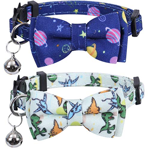 Lamphyface 2 Pack/Set Cat Collar Breakaway with Cute Bow Tie and Bell for Kitty Adjustable Safety