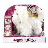 Animagic Fluffy, Mi Perrito Paseo. ¡Sácalo a pasear con su correa luminosa Acarícialo y empezará a ladrar y a andar moviendo su colita, color blanco (Goliath Games 312903200)