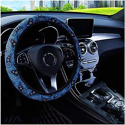 MRTIOO Boho Cute Soft Cloth Flowers Steering Wheel Cover for Women Girl, Universal 15 Inch, Fit Suvs, Vans, sedans, Cars, Trucks - Blue