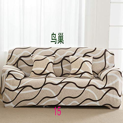 WEDZB Sofa hoes,1/2/3/4 Zits Kleur Elastische Bankhoes Spandex Modern Polyester Hoekbank Bank Hoes Stoelbeschermer Woonkamer, 15,2, zitje 145,185cm
