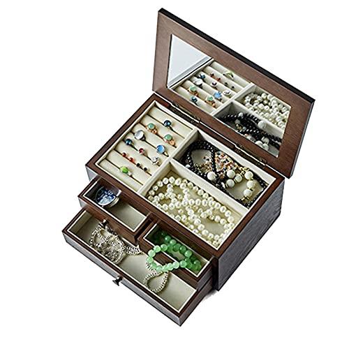 XIAOXIAO Caja de joyería de madera con espejo estilo chino para collares, pendientes, anillos y pulseras, estuche organizador para hombres y mujeres