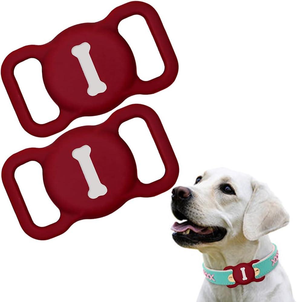 Funda de Silicona Compatible con el Collar para Mascotas Airtag, Funda Protectora Airtag, Estuche buscador GPS portátil Ajustable para Collar de Perro y Gato 2 Piezas (2-carmesí)