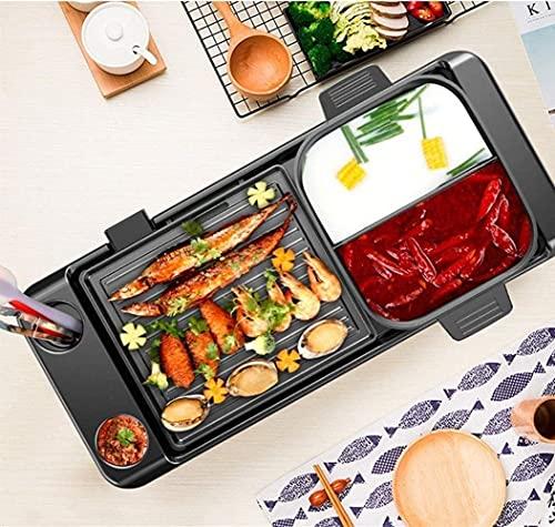 TTLIFE Elektrische barbecue, Koreaanse grill, multifunctionele, antiaanbaklaag, Koreaanse grill zonder rook, shabby pot, dubbele temperatuurregeling, capaciteit voor 4 personen