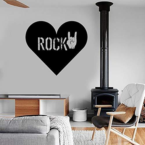HGFDHG Calcomanía de Pared de Amor de corazón de Rock, Pegatina de Vinilo para Pared con Gestos Musicales, Dormitorio Adolescente Fresco, Sala de Estar, Sala de música, Bar, Arte, Mural
