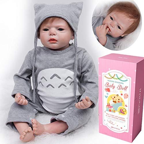 MAIHAO Poupée Reborn Bébé Garçon Réaliste Nouveau-né en Silicone Reborn Baby Doll Tenue Grise 22 Pouce