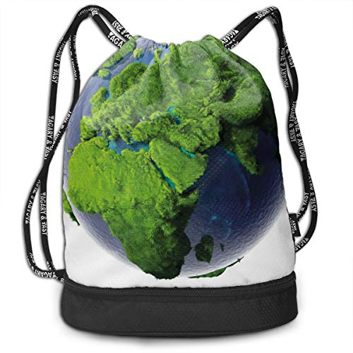 DPASIi Drawstring Backpacks Daypack Bags,World Covered with Lush Green Forest Grass and Blue Waters Eco Nature Concept,Adjustable String Closure