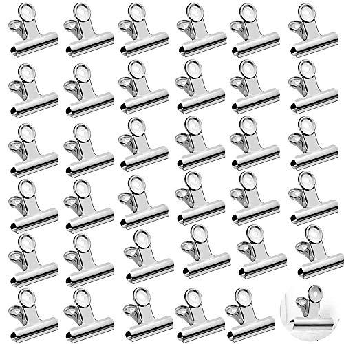 WELLXUNK® Pinzas para etiquetas,35 Pack clips de bisagra,acero inoxidable clips de papel,Pinzas...