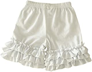Bfsports Toddler Baby Girls Solid Color Triple Icing Ruffle Shorts Cotton Sport Active Bottom Pants