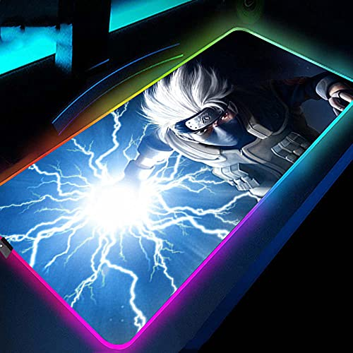 Gaming Mouse Pads Anime Naruto Kakashi RGB Blue Mouse Pad,Extended XXL LED Glowing Mouse Mat with Non Slip Rubber Base for Work 27.6x11.8