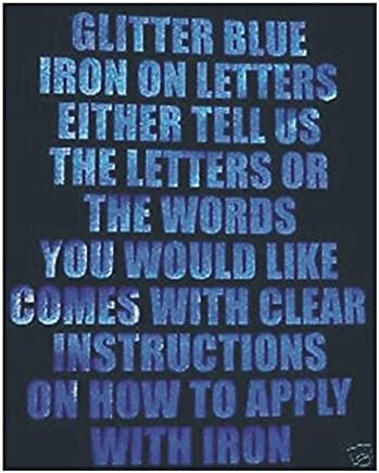 Letters or Numbers Vinyl Printing Two Inch Glitter Blue Iron On Characters