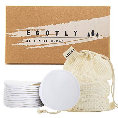 Dischetti struccanti lavabili | 14 dischetti ecologici realizzati in cotone e fibra di bambù, morbidi cuscinetti lavabili e riutilizzabili con sacchetto per il bucato in cotone | Ecotly