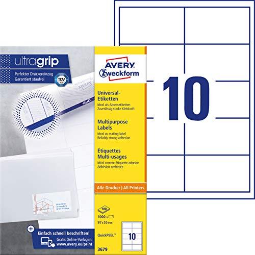 AVERY Zweckform 3679 Adressaufkleber (mit ultragrip, 97 x 55 mm auf DIN A4, Papier matt, bedruckbare, selbstklebende Adressetiketten, 1.000 Klebeetiketten auf 100 Blatt) weiß