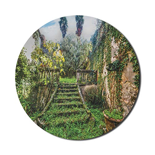 Ambesonne Nature Mouse Pad for Computers, Fairytale Theme Hidden Garden with Botanic Trees Flowers Ivy Image Print, Round Non-Slip Thick Rubber Modern Gaming Mousepad, 8' x 8', Multicolor