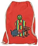 Hariz - Bolsa de deporte para niños, diseño de osito del bosque, 8 cumpleaños, rojo (Rojo) - AchterGeburtstag49-WM110-9-1