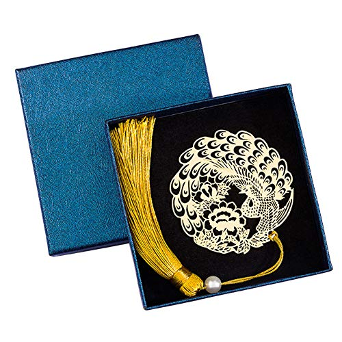 Vintage Segnalibri, Hollow Creativo Metallo Pavone Etichetta Nappa Decorazione Regalo Ideale Per Amici E Famiglia-a 5.8x6.2cm