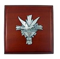 確認木製ロザリオボックスwithシルバートーンHoly Doveデザイン、23/ 4インチ