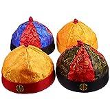 PRETYZOOM 4 Piezas Sombrero de Disfraz de Emperador Chino con Trenza Sombrero Tradicional Mandarín Novedad Sombrero de Fiesta Accesorios de Ropa Samurai para Niños Pequeños de 7 a 15 Años