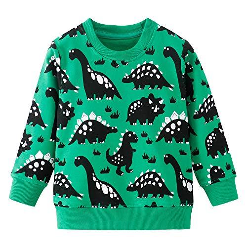 Little Hand Jungen Pullover Kinder Sweatshirt Dinosaur Jumper Sweater Baumwolle Langarm T Shirts 92 98 104 110 116 122 (92, Dinosaur Sweatshirt-Grün)