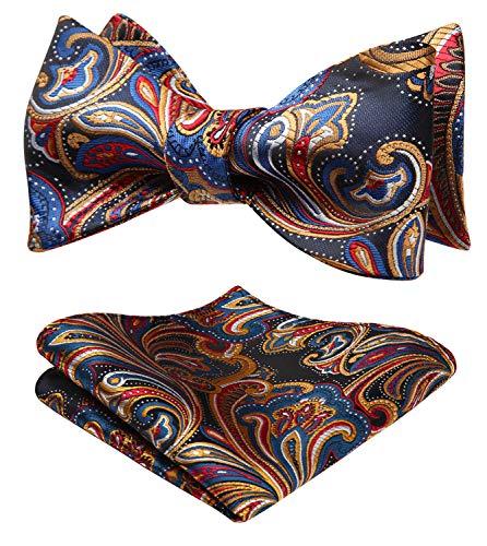 HISDERN Set papillon da uomo jacquard floreale floreale Taglia unica Blu/Arancio/Rosso