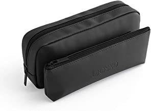 Travel Makeup Bag, Black Compact Toiletry Bag with Detachable Front Storage Pocket and Removable Center Flap, Professional Cosmetic Pouch for Woman and Girl (Black)