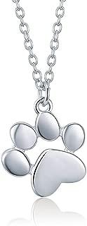 Collares Colgantes Plata de Ley 925 Huellas de Animales Lindas Huellas de Perros 46 cm Collares Colgantes Mujeres Joyería de Plata