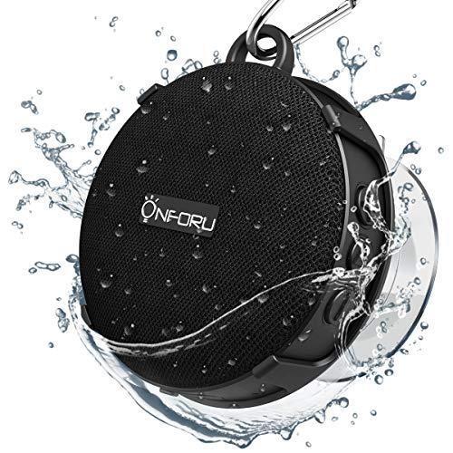Onforu Bluetooth Lautsprecher Dusche, Bluetooth 5.0 Duschlautsprecher mit Saugnapf, IP65 Wasserdicht Outdoor Mini Speaker, Eingebautes Mikrofon, 10H Spielzeit Tragbar Kabellos Musikbox für Bad, Pool