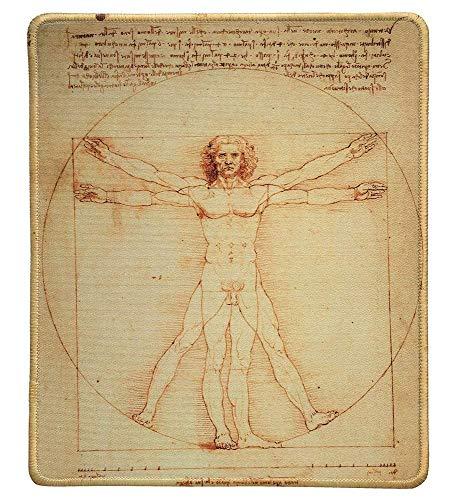 Art Mousepad - Natuurlijke Rubber muismat met Beroemde Schilderij van Vitruvian Man door Leonardo da Vinci - Genaaide randen - 9x7 inch