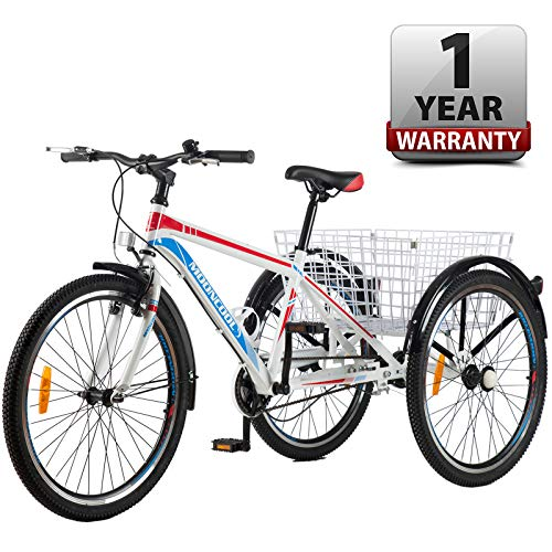 Best Price Slsy Adult Mountain Tricycle, Single Speed Three Wheel Bike, 20 Inch Adults Trikes for Se...