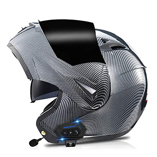 HZIH Bluetooth Casco Moto Modulare,DOT Certificazione Casco Moto Modulare Flip Front Omologato con Doppia Visiera,Integrati Altoparlante Bluetooth Auricolare con Microfono P,L=56~57cm