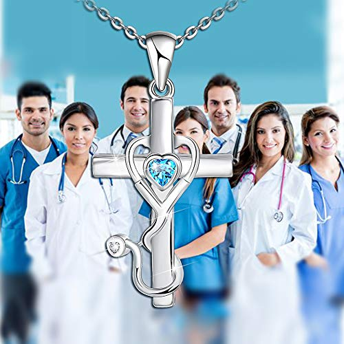 Product Image 3: Blue Stethoscope Heart Pendant Necklace for Medicine Workers 925 Sterling Silver Doctor Nurse Necklace Gifts for Women Graduation Medical Student